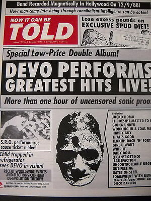 DEVO Now It Can Be Told preserved 1989 PROMO AD