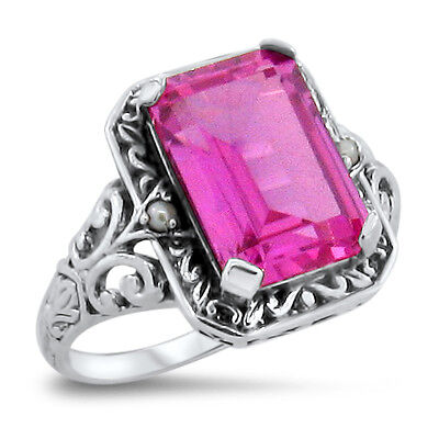 5 Ct. Pink Lab Sapphire Antique Victorian Design .925 Sterling Silver Ring, #308