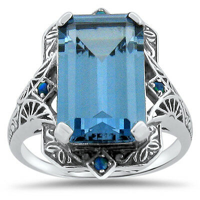 6 Ct. Sim Aquamarine Opal Antique Victorian Design 925 Sterling Silver Ring,#309