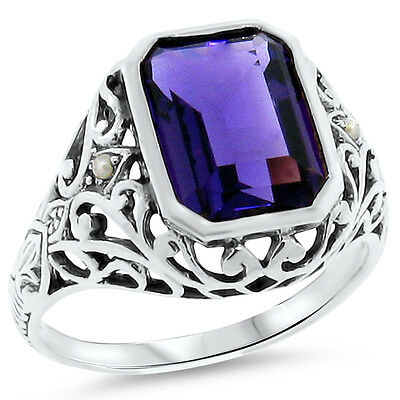 3.5 Ct. Lab Amethyst Antique Victorian Design .925 Sterling Silver Ring,    #178