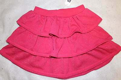 NWT Gap Kids Fuchsia Pink Comfy Ruffle Tiered Sparkle Skirt M 8 Yrs.