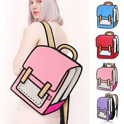 New Women 3D Jump Style 2D Drawing From Cartoon Paper Comic Backpack Bag Satchel