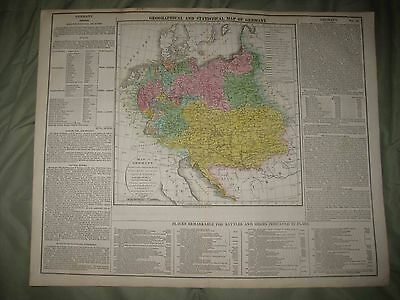 Huge Gorgeous Antique 1821 Germany Prussia Lavoisne Handcolored Map Battle Siege