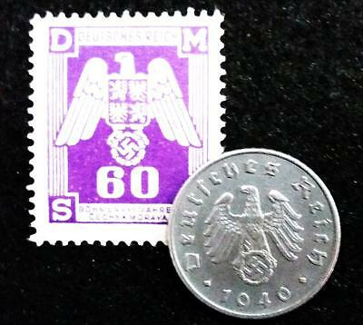 Authentic WW2 German 5 Reichspfennig & Unused Stamp - Historical Artifacts