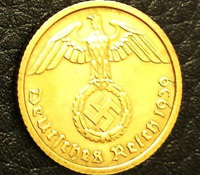 German 3rd Reich 10 Rp Coin w/ Swastika - Nazi Germany WW 2 - VERY Rare Coin
