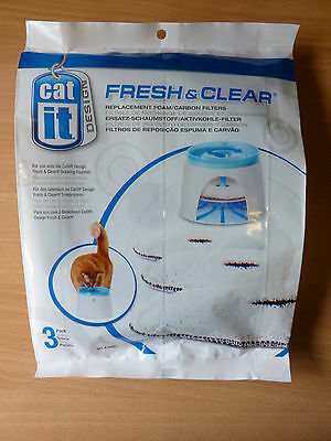 CATIT FRESH & CLEAR REPLACEMENT FOAM CARBON FILTERS PACK OF 3 for Hagen fountain