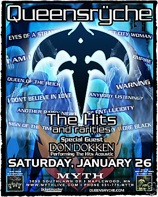"""Queensryche / Don Dokken 2008 """"the Hits Tour"""" Minneapolis Concert Poster"""