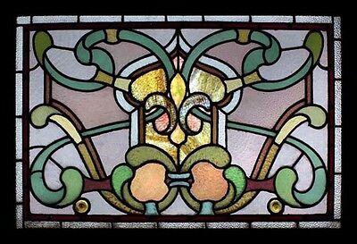 Art Nouveau Fleur De Lys Antique English Stained Glass Window