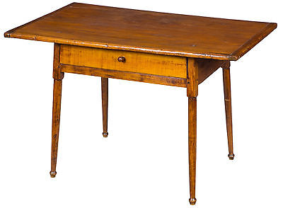 SWC-Maple & Pine Tavern Table with Overhanging Breadboard Top and Drawer, c.1780