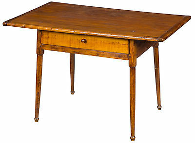 SWC-Maple & Pine Tavern Table with Overhanging  Top & Drawer, c.1780