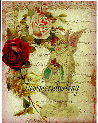 Angel*victorian*antique Roses French Script Collage*fabric Block*1-5X7