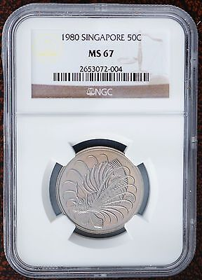 1980 Singapore 50 Cents  KM# 5  BU Coin NGC MS67 Top Grade