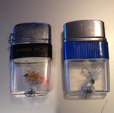 Vintage Vu-Lighters Blue  Band, White Fly, Firefly,  Fishing lighters