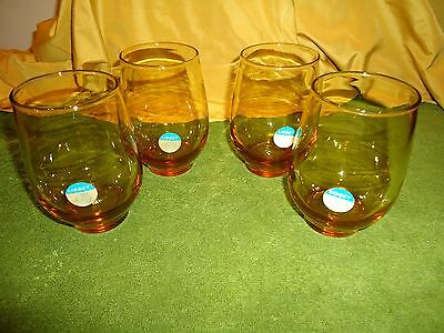 Vintage Libbey Tempo-Amber 12oz. Glasses-4 qty.- Still Have Libbey Stickers