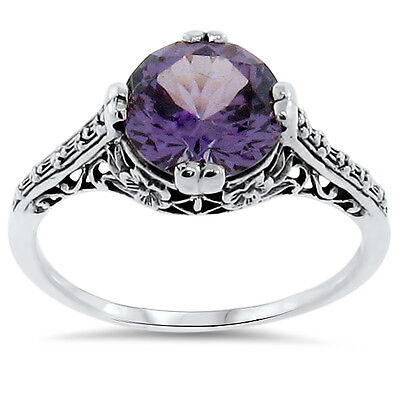 4 Ct COLOR CHANGING LAB ALEXANDRITE ANTIQUE STYLE .925 STERLING SILVER RING,#163