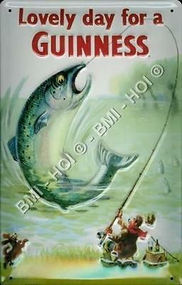 "Guinness - Big Fish - classic old poster on metal sign 12"" x 8"" inches"