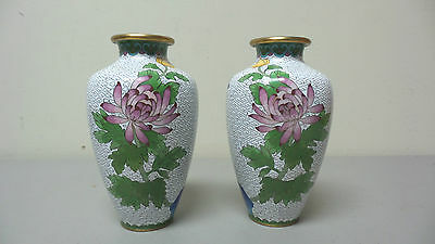 PAIR CHINESE CLOISONNE ENAMEL VASES, WHITE w/ HAND PAINTED FLORAL DESIGN