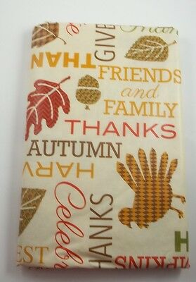Holiday Thanksgiving Tablecloth Autumn Harvest Friends & Family Flannel 60""