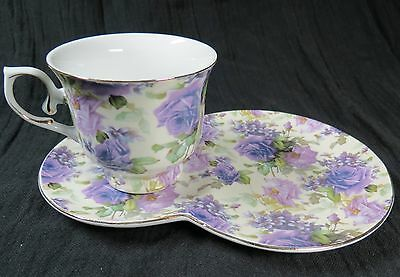 Victoria's Garden Purple Rose and Violet Chintz Cup Snack Plate Saucer