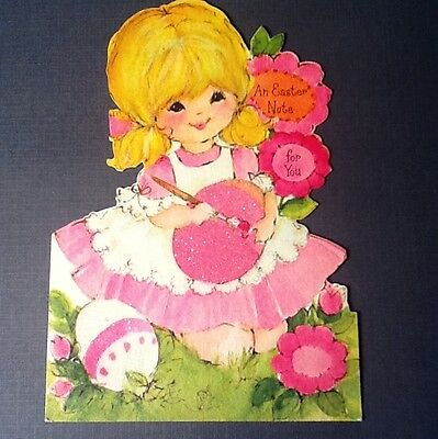 #C982- Vintage Easter Greeting Card Blond Girl In Pink With Glittered Egg