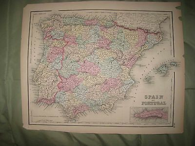 Large Superb Antique 1855 Spain Portugal Gibraltar Colton Handcolored Dated Map