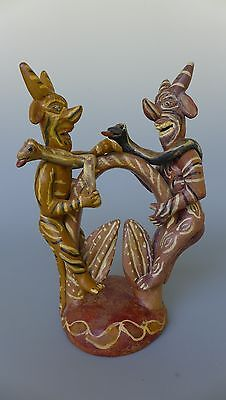 """Old vintage Mexican Ocumicho ceramic sculpture 2 devils w/snake 10 1/2"""" tall"""