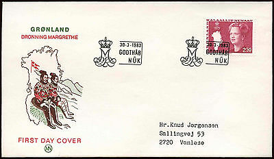 Greenland 1983 2k50 Queen And Map Definitive FDC First Day Cover #C22744