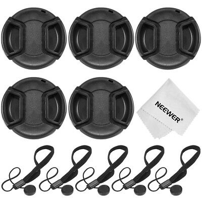 5pcs 58mm Center Pinch Lens Cap with Cap Keeper Leash and 1pcs