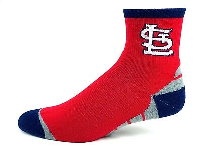 St. Louis Cardinals Adult Quarter Socks Red Navy Heel and Toe With Gray Stripes