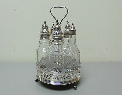 NICE 19th C. ENGLISH STERLING SILVER 5-BOTTLE CONDIMENT STAND, c. 1897