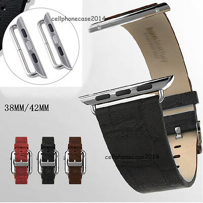 New Genuine Leather Watch Band Strap for Apple iWatch + Classic Buckle 38mm/42mm