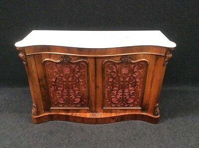Victorian Rosewood Serpentine Credenza Sideboard With Marble Top Quality L@@@k