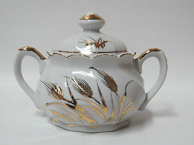 LEFTON China Hand-painted Sugar Bowl & Lid #20183 - Gold/White Wheat Pattern