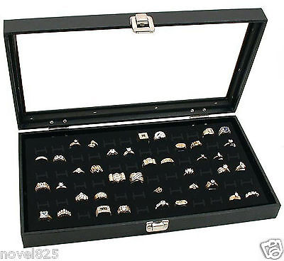 Glass Top 72 Ring Black Showcase Jewelry Gemstone Display Storage Organizer Box