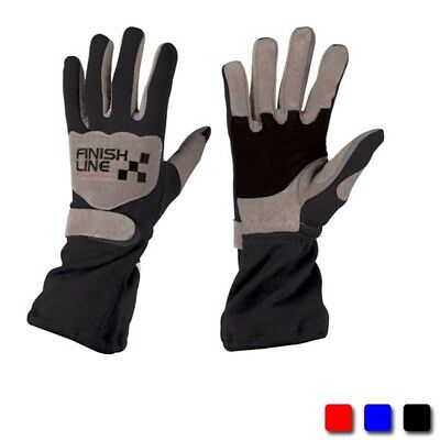 FinishLine Single Layer Driving Racing Gloves SFI 3.3/1,  Red, Size Small