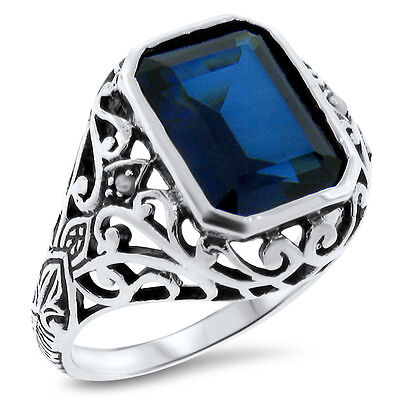 5 Ct. Blue Lab Sapphire & Pearl Antique Design .925 Sterling Silver Ring,   #375