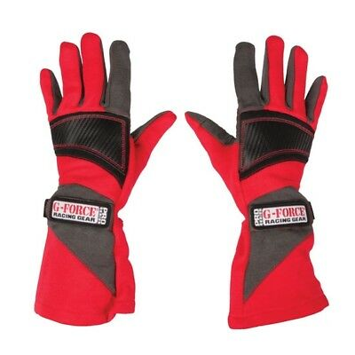 G-FORCE Pro Series SFI 3.3/5 Certified Two Layer Racing Gloves, Red, Size S
