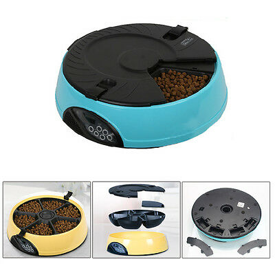 6 Meal Automatic Pet Feeder Auto Dog Cat Food Bowl Dispenser Electronic Blue