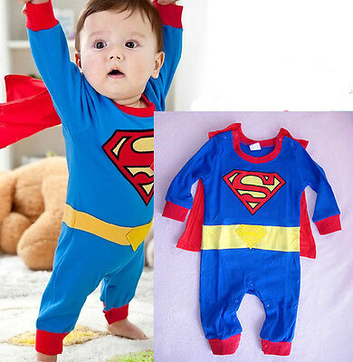 Newborn Baby Boy Superman Costume Kids Bodysuit Children Romper Cloak Clothing