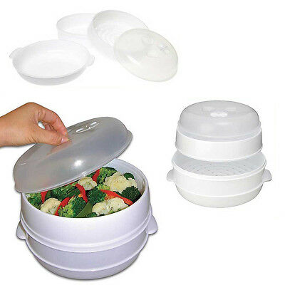2 Tier Microwave Cooker Steamer Vegetables Rice Pasta Healthy Cooking Pot Pan