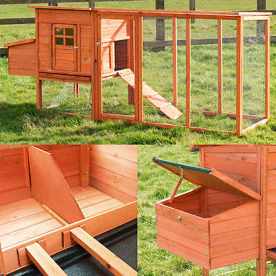 Barcelona 8Ft Large Chicken Coop Cage Run With Nest Box Hen Poultry House Ark