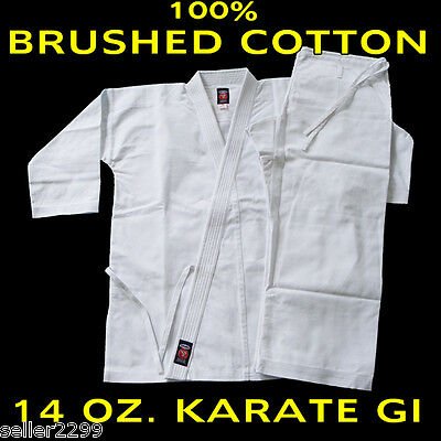 Size 4 WHITE 14 Oz. Gi Made of 100% Brushed Cotton Heavy Weight Karate Uniform