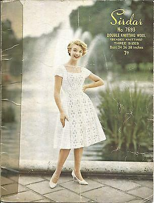 VINTAGE  KNITTING PATTERN 1950's DRESS W BEADED FRONT PANELS