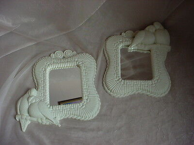 Vintage Mourning Doves Mirror Pair of White Hard Plastic Rattan Wall Decor