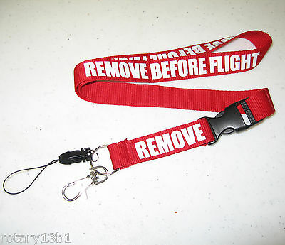 REMOVE BEFORE FLIGHT LANYARD NECKSTRAP AVIATION LUGGAGE FLAG TAGS - RED/White 1