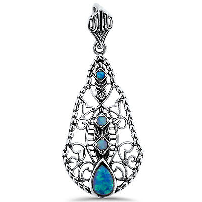 Lab Blue Opal Antique Design 925 Sterling Silver Pendant,   #433