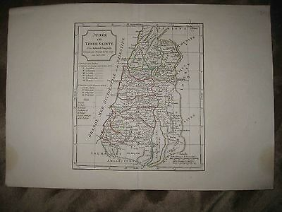 Antique 1806 Israel Copperplate Vaugondy Copperplate Map Jewish Tribes Holy Land