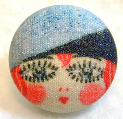 """1920s Flapper Girl Button Hand Printed Fabric /"""" Millie /"""""""