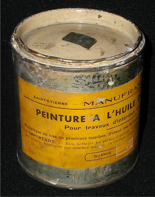 Old 1950s French Oil-Based Paint Can~Peinture A L'Huile De Lin Pure~Qt.Sized Can