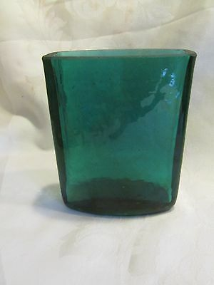 """Blue green rock relief style glass vase rectangular convex style - 5.5"""" - MER"""